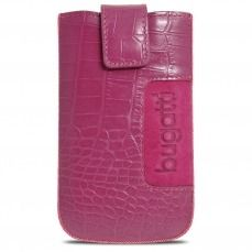 Bugatti® Genuine Leather Pouch SlimCase Croco Size M 73x122mm Pink