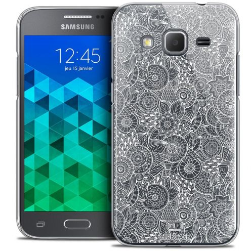 Coque Crystal Galaxy Core Prime (G360) Extra Fine Texture Dentelle Florale - Blanche