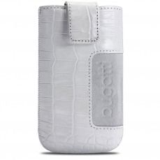 Bugatti® Genuine Leather Pouch SlimCase Croco Size SL White 81x134mm