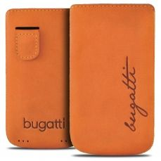 Bugatti® Genuine Leather Pouch Perfect Velvety Size M Mandarin