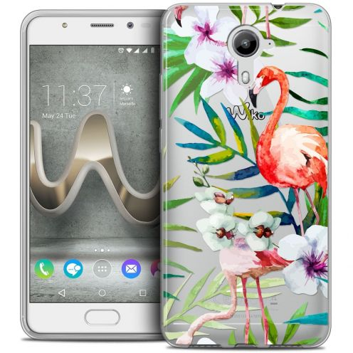 Coque Crystal Gel Wiko U Feel PRIME Extra Fine Watercolor - Tropical Flamingo