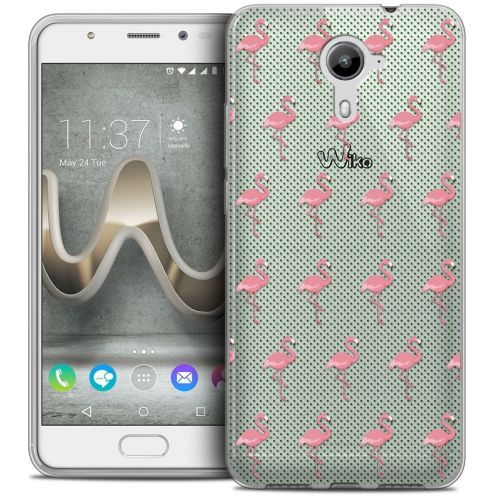 Coque Crystal Gel Wiko U Feel PRIME Extra Fine Pattern - Les flamants Roses Dots