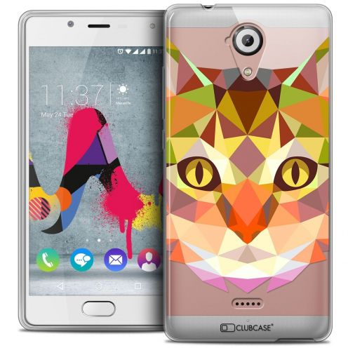 Coque Crystal Gel Wiko U Feel LITE Extra Fine Polygon Animals - Chat
