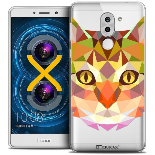 Coque Crystal Gel Huawei Honor 6X Extra Fine Polygon Animals - Chat