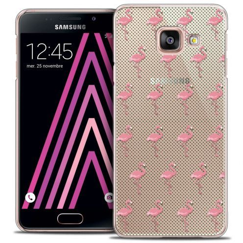 Coque Crystal Samsung Galaxy A3 2016 (A310) Extra Fine Pattern - Les flamants Roses Dots