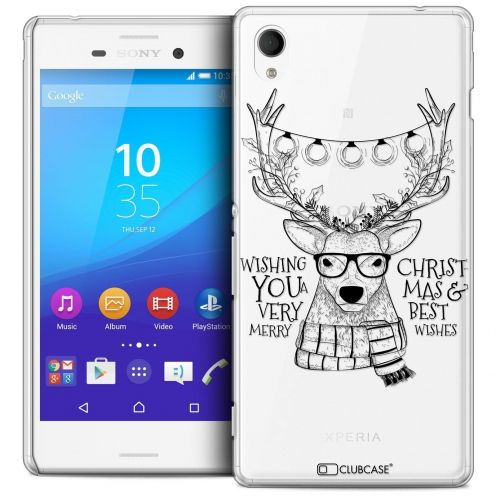 Coque Crystal Sony Xperia M4 Aqua Extra Fine Noël 2016 - Cerf Hipster