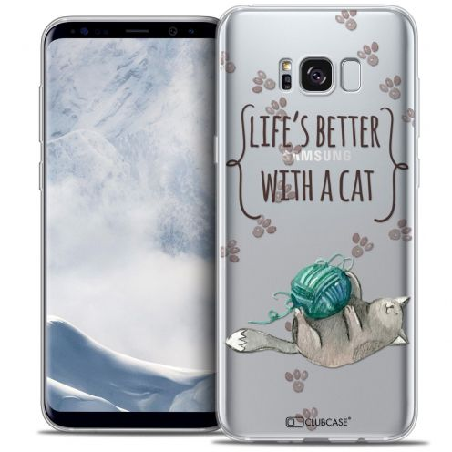 Extra Slim Crystal Gel Samsung Galaxy S8+/ Plus (G955) Case Quote Life's Better With a Cat
