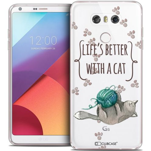 Coque Crystal Gel LG G6 Extra Fine Quote - Life's Better With a Cat