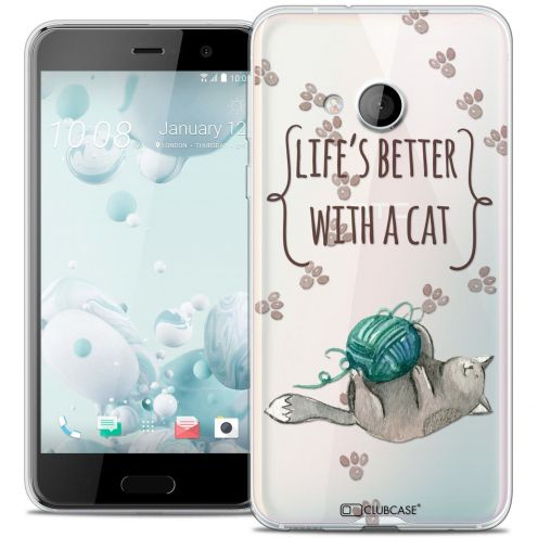 Coque Crystal Gel HTC U Play Extra Fine Quote - Life's Better With a Cat