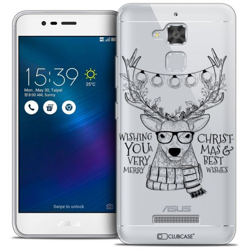 "Coque Crystal Gel Asus Zenfone 3 Max ZC520TL (5.2"") Extra Fine Noël 2016 - Cerf Hipster"