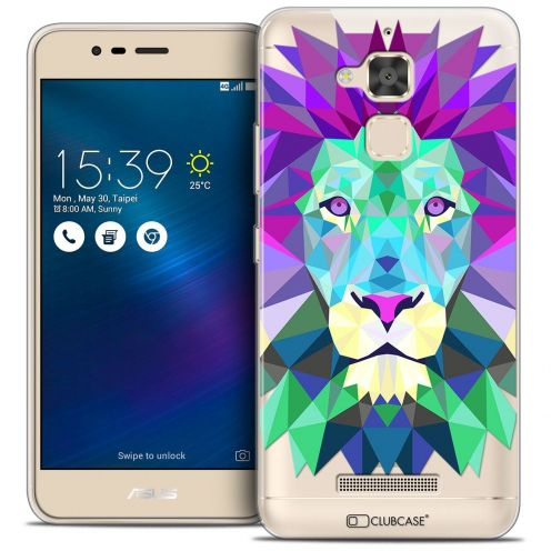 "Coque Crystal Gel Asus Zenfone 3 Max ZC520TL (5.2"") Extra Fine Polygon Animals - Lion"