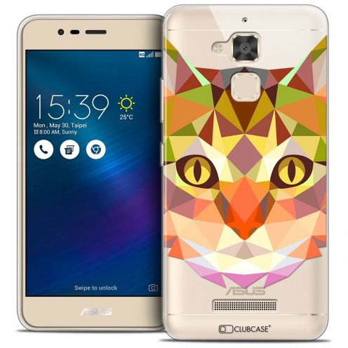 "Coque Crystal Gel Asus Zenfone 3 Max ZC520TL (5.2"") Extra Fine Polygon Animals - Chat"