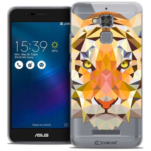 "Extra Slim Crystal Gel Asus Zenfone 3 Max ZC520TL (5.2"") Case Polygon Animals Tiger"